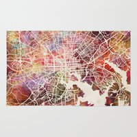 baltimore Area & Throw Rugs featuring Baltimore map by MapMapMaps.Watercolors