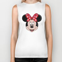 minnie Biker Tanks featuring Minnie Mouse by Yuliya L