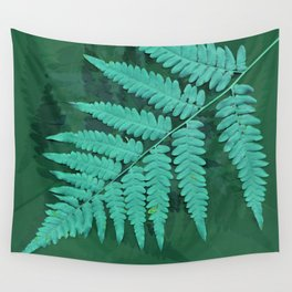 From the forest - turquoise on green Wall Tapestry