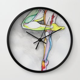 Motion 4, dancer leg anatomy, NYC artist Wall Clock