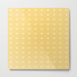 Minimal Butterfly Pattern - Yellow Metal Print