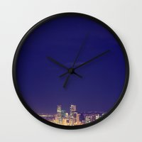 denver Wall Clocks featuring Denver by Augustina Trejo