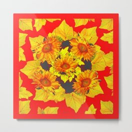 Red & Gold Leaves Sunflowers Pattern Art Metal Print