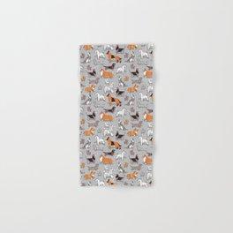 Origami doggie friends // grey linen texture background Hand & Bath Towel