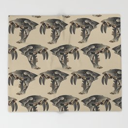 Ancient Warrior (Sabertooth Skull) Throw Blanket
