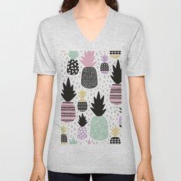 Summer pineapples in pastel color pop Unisex V-Neck