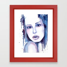 Watercolor - Woman in blue Framed Art Print