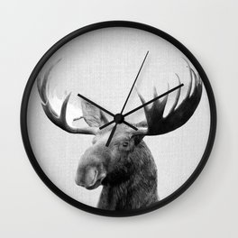 Moose - Black & White Wall Clock