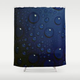 Midnight Blue to Stars in Droplets Polka Dots Shower Curtain