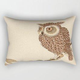 Owl Sitting on Branch Rectangular Pillow