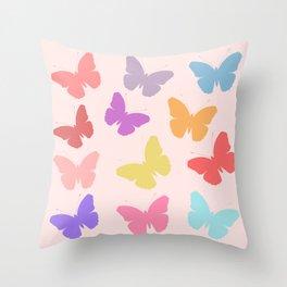 Multicoloured Butterflies on Pink Throw Pillow