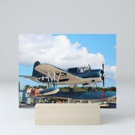Seaplane On Battleship Mini Art Print