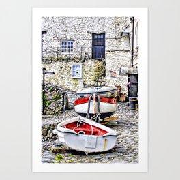 Clovelly Boats Art Print