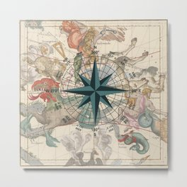 Compass Graphic with an ancient Constellation Map Metal Print