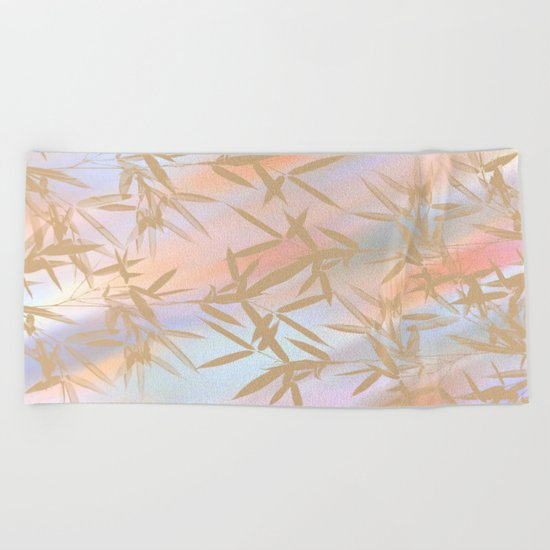 Floating Golden Leaves Abstract Beach Towel