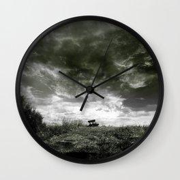 On The Dyke b&w Wall Clock