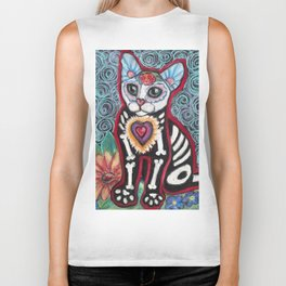 Day of the Dead Cat Biker Tank