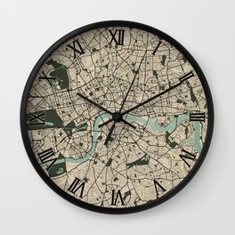 London City Map of England - Vintage Wall Clock
