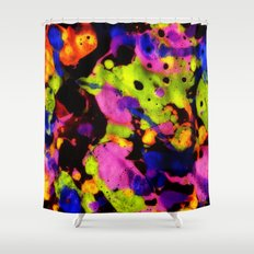 Paintskin with Orange and Blue Shower Curtain