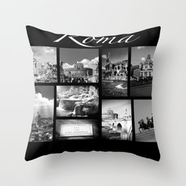 Rome Poster black and white Throw Pillow
