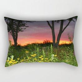 Sunset Over a Wildflower Field Rectangular Pillow