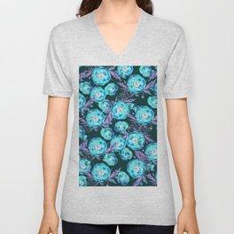 Abstract Poppy Pattern Blue And Black Unisex V-Neck