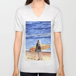 Girl with Surfboard Standing on the Beach Unisex V-Neck