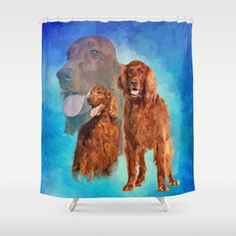 Irish Setter Dogs collage Shower Curtain