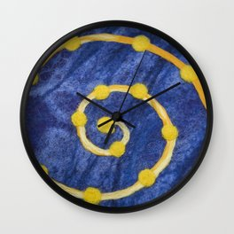 Yellow circle on a blue background made of wool Wall Clock