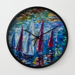 Sails To-night oil painting with Palette Knife Wall Clock