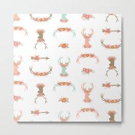 Floral Deer Neck Gator Cute Deer Antlers White Metal Print