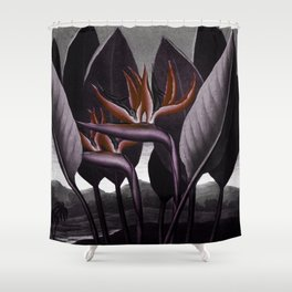 Birds of Paradise : Temple of Flora Dark Shower Curtain