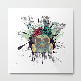 Green Gas Mask with Roses Metal Print