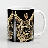heavy metal Mugs featuring Heavy Metal Daryl by Tracey Gurney
