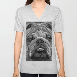 Bulldog Black and White Unisex V-Neck