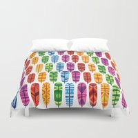 feathers Duvet Covers featuring Feathers by Wharton