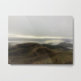 Hiking in fog Metal Print