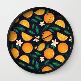 Orange Blossom Pattern Wall Clock