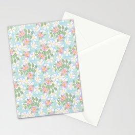 Pink Dogroses on Sky Blue Stationery Cards