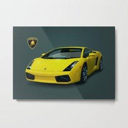 Yellow Lamborghini Metal Print