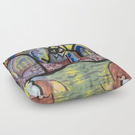 The Church at Auvers a la Mela Floor Pillow