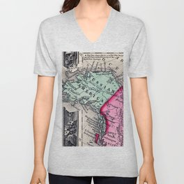 1860 Map, Russian America (Alaska) Unisex V-Neck