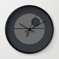 death star Wall Clocks featuring Star Wars Minimalism - Death Star by Casa del Kables