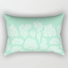 White corals on mint Rectangular Pillow