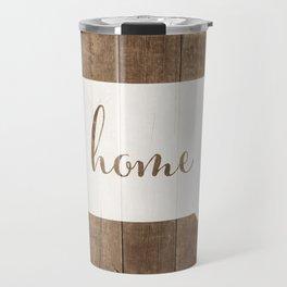Iowa is Home - White on Wood Travel Mug