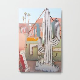 Cactus in the Neon Graveyard Metal Print