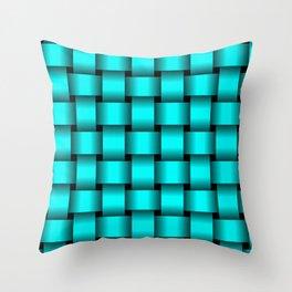 Large Cyan Weave Throw Pillow