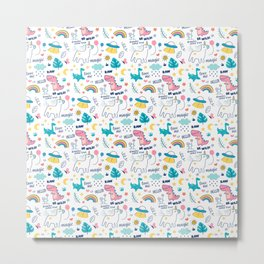 Magical Unicorn and Dinosaurs print Cute Gift for Girls Metal Print
