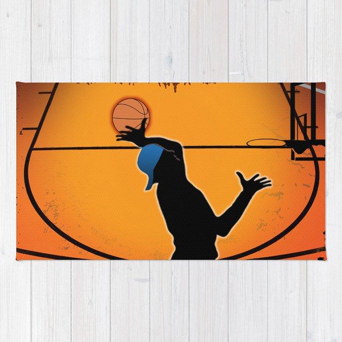 Basketball Player Silhouette Rug