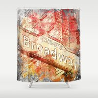 broadway Shower Curtains featuring Broadway  by LebensART